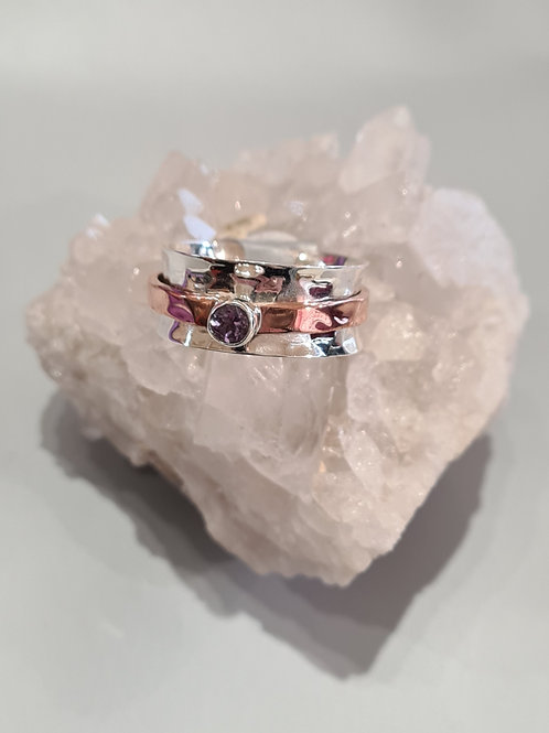 Sterling Silver & Amethyst Spinner Ring