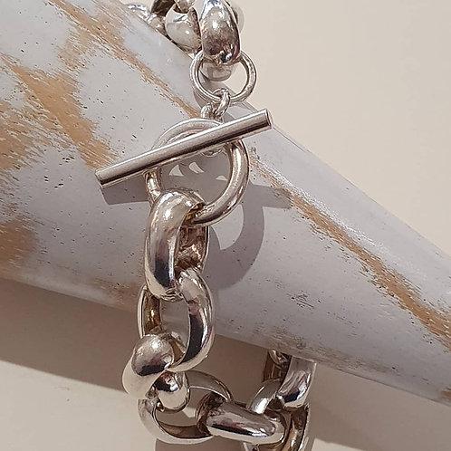 Sterling Silver Heavy unisex Belcher Bracelet with T-Bar Clasp