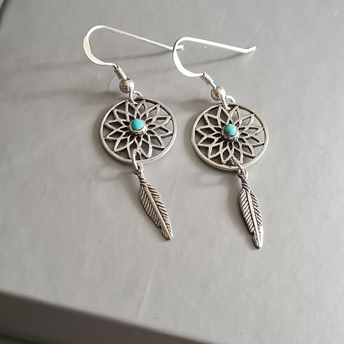 Sterling Silver Dream Catcher Turquoise Earrings