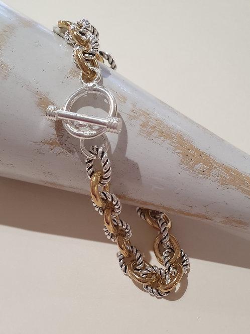 Sterling Silver & Gold Plated Rope Belcher Bracelet