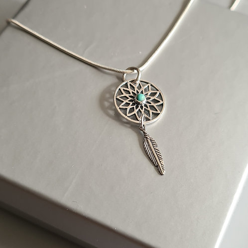 Sterling Silver Dream Catcher Turquoise Pendant & Chain