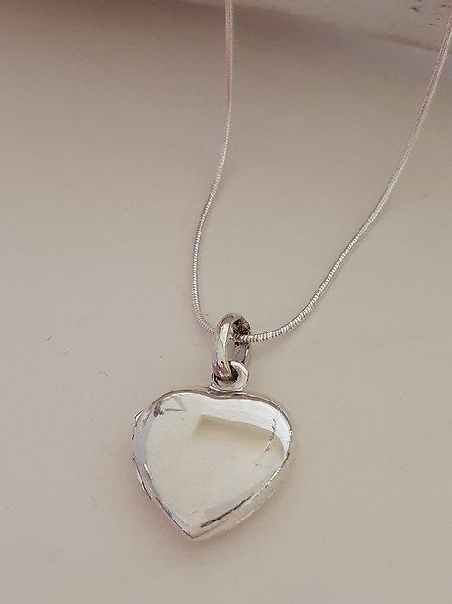 Sterling Silver Heart Locket & Chain
