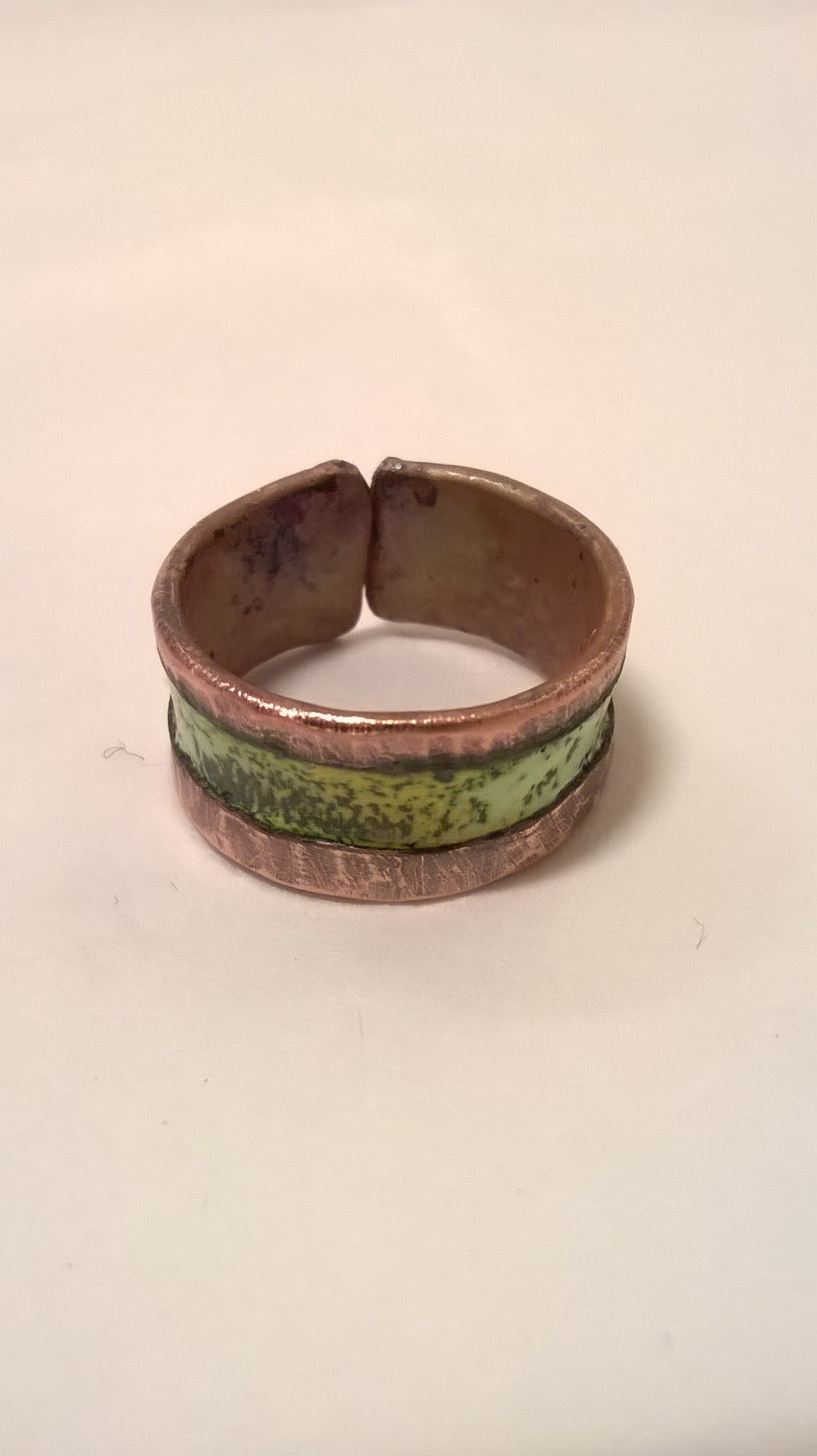 Copper and Enamel rings by Jason Noble