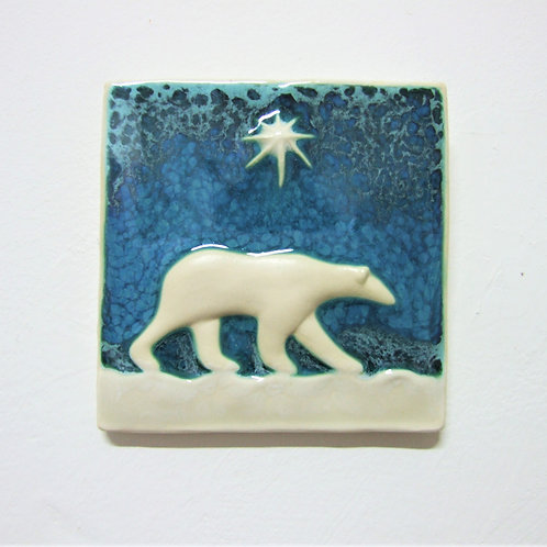 'Polar Bear' Ceramic Tile By Ann Mari Hopkin