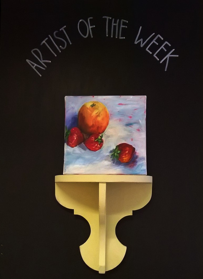 New Artist of the week... Janet Hockley, 'Orange And Strawberries' acrylic paint on canvas 2