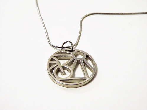 "KOA - Pewter pendant  with 18"" silver snake chain."