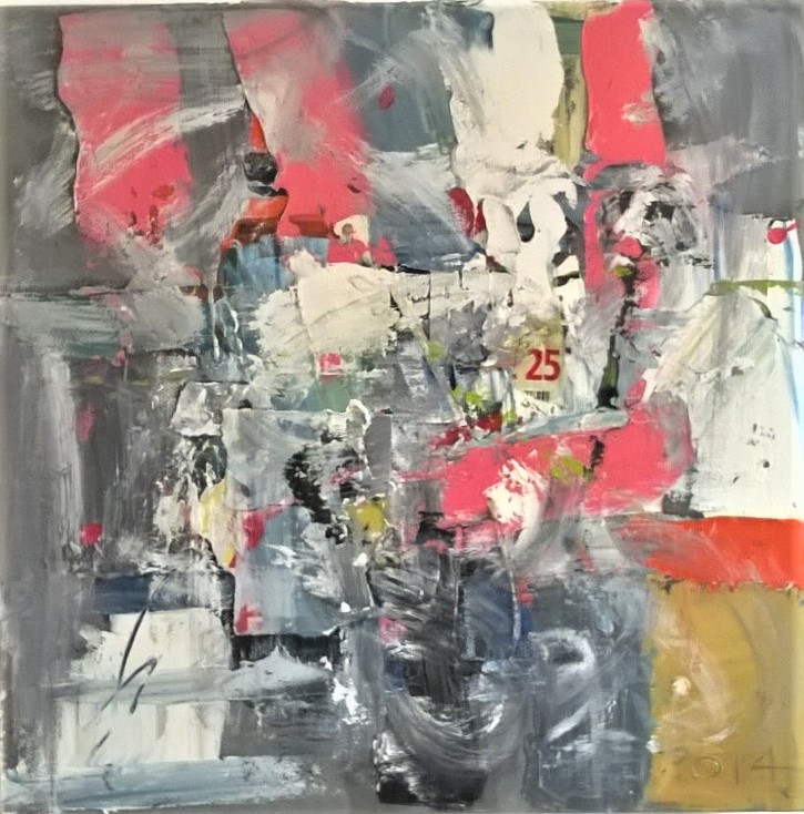 Contemporary oil painting, abstraction, mixed media, collage, Robert Freame