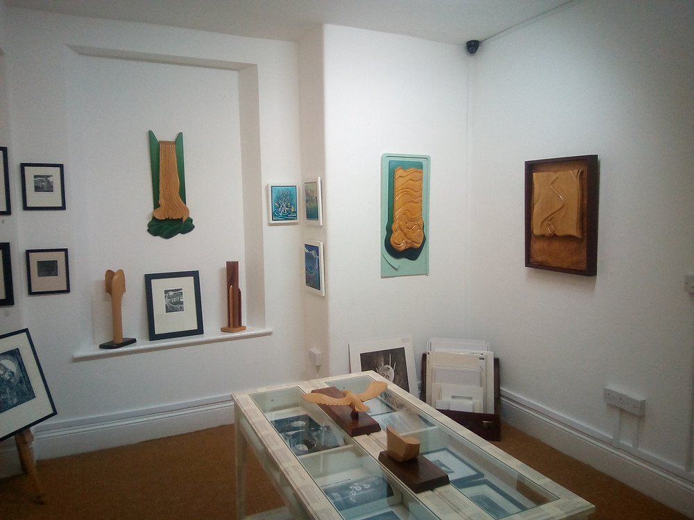 Some of the beautiful Wood carvings on display in the Back Room Gallery at Words & Pictures