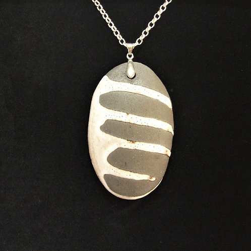 Ceramic and silver Pebble pendant by Tina Hill Art