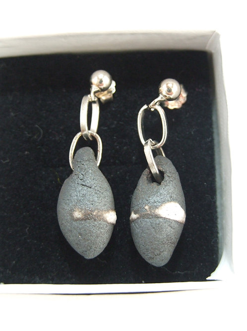 Ceramic and silver black pebble stud earrings by Tina Hill Art
