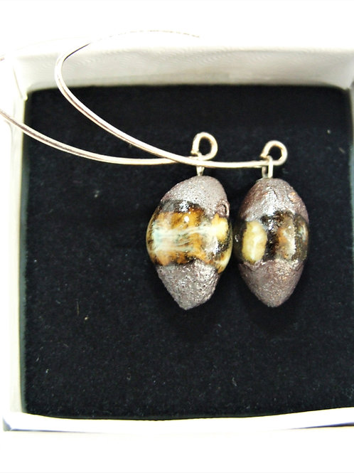 Ceramic and silver pebble drop earrings by Tina Hill Art