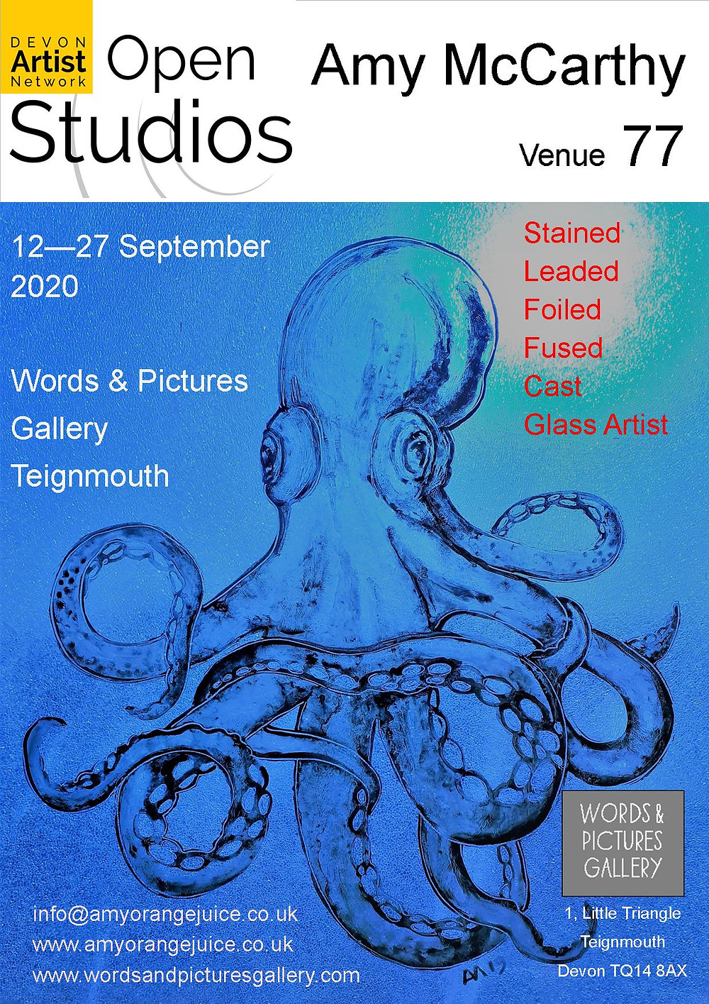 Amy McCarthy glass artist at Venue 77 - Words & Pictures Gallery