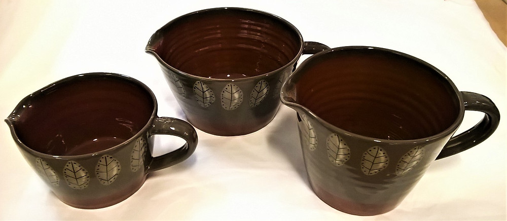Pam Brooker leaf design jugs