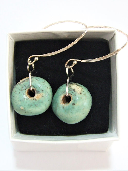 Ceramic and silver turquoise pebble drop earrings by Tina Hill Art