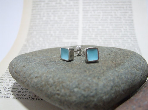 Turquoise Block stud earrings by Lawrence Gibson (KOA)