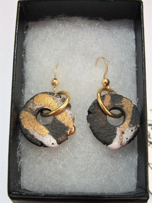 Ceramic and Gold drop earrings by Tina Hill Art