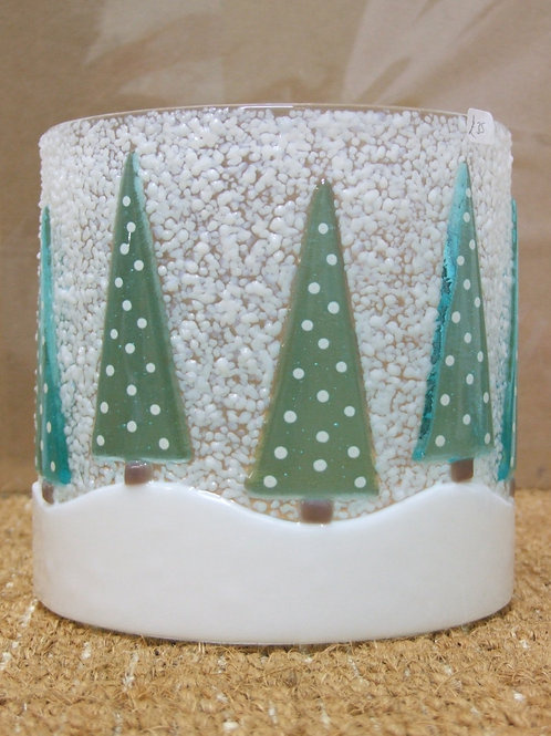 Five Turquoise Christmas Tree Arched glass light catcher