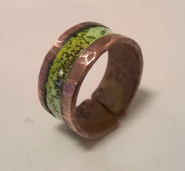 Rugged Copper and Enamel rings by Jason Noble