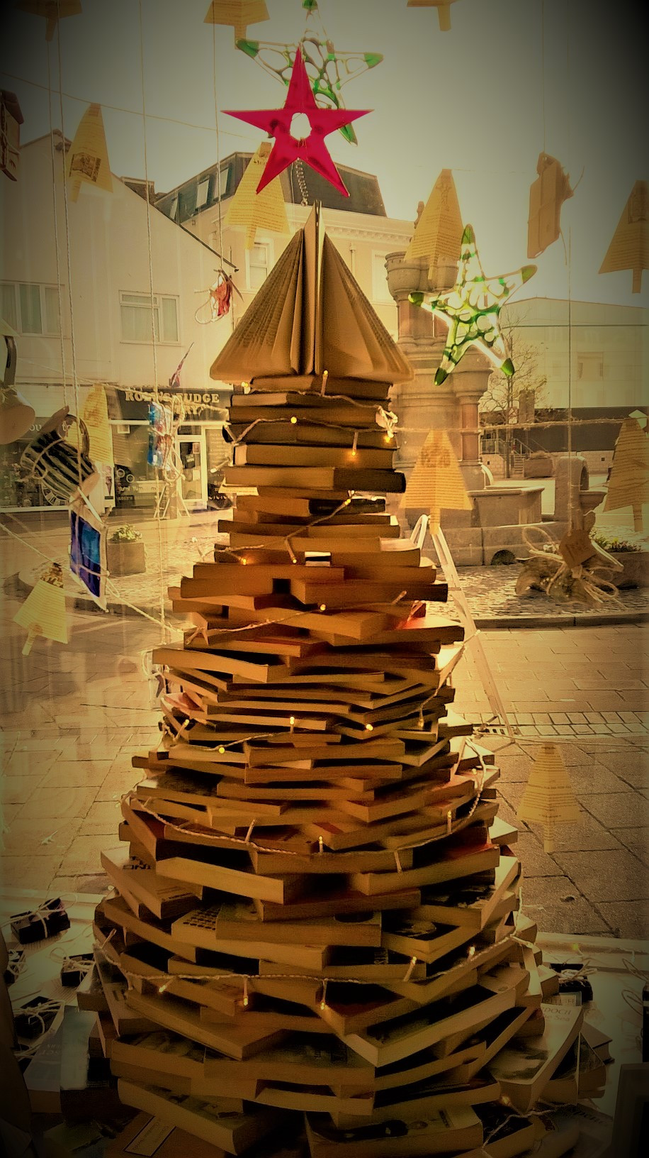 Christmas tree window display book shop & Gallery