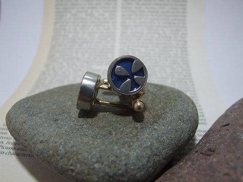 Deep Blue Decorative Cufflinks By Lawrence Gibson (KOA)