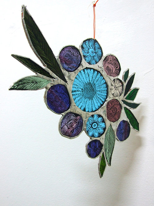 Copper foiled stained Glass 'Bouquet #3' by Amy McCarthy