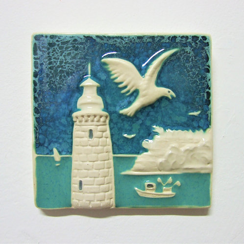 'Teignmouth' Ceramic Tile By Ann Mari Hopkin
