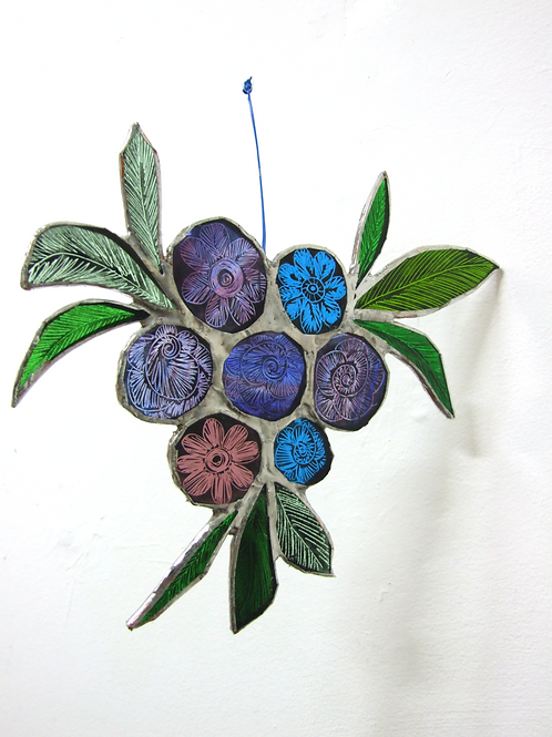 Copper foiled stained Glass 'Bouquet #4' by Amy McCarthy
