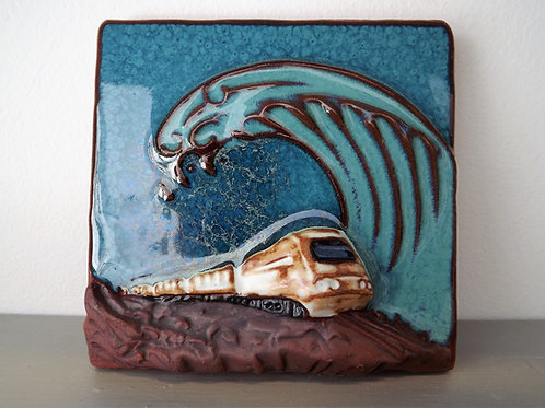 Ann-Mari Hopkin, 'Teignmouth Train at Splash Point' Ceramic Tile - 10 x 10cm