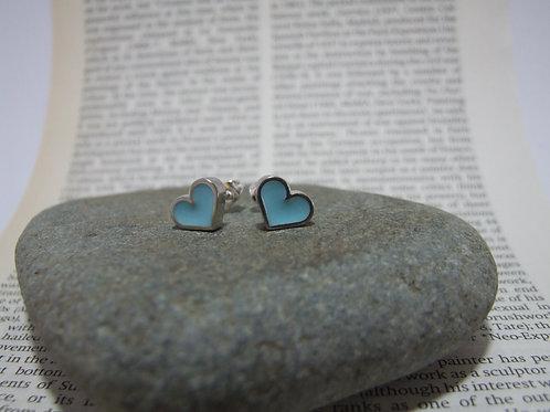 Turquoise heart stud earrings by Lawrence Gibson (KOA)