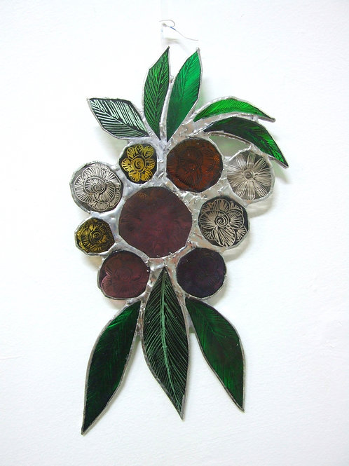 Copper foiled stained Glass 'Bouquet #2' by Amy McCarthy