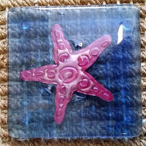 Glass Coaster with copper starfish design