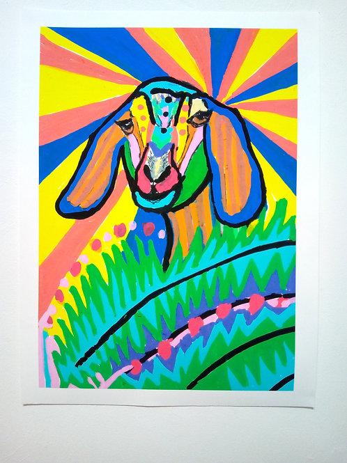 'Rainbow Goat' giclee print by Rosa Weber