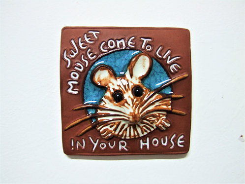 'Mouse in your House' Ceramic Tile By Ann Mari Hopkin