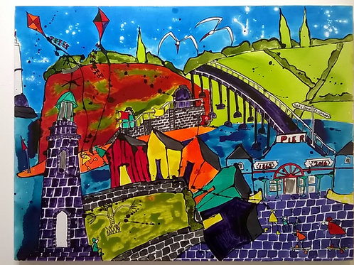 'Teignmouth to Shaldon' Original Acrylic Ink Painting on canvas by Fran Hale