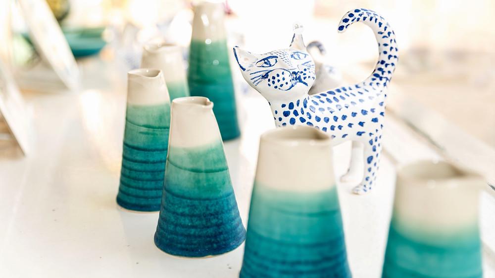 Neil Edgson small ceramic jugs and Paul Taylor cat sculpture