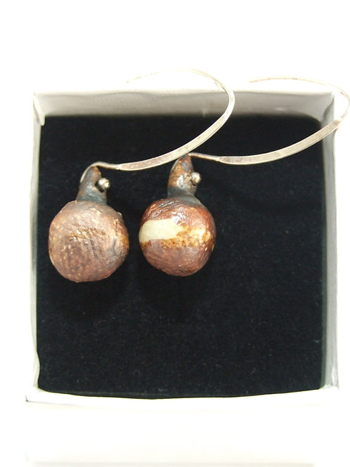 Ceramic and silver textured pebble drop earrings by Tina Hill Art