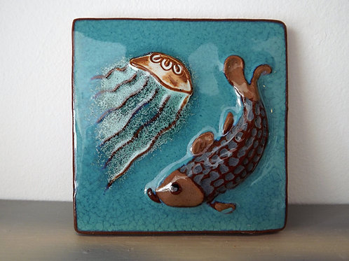 Ann-Mari Hopkin, 'Jellyfish and Fish' Ceramic Tile