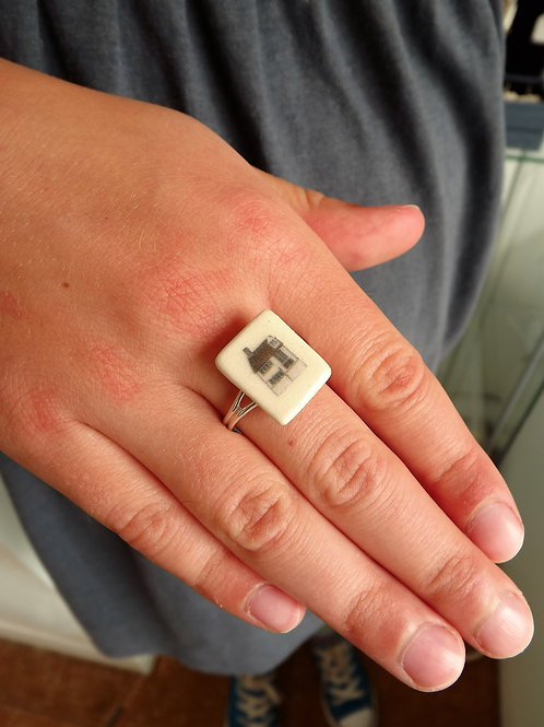Porcelain and silver adjustable ring by Amos Denton