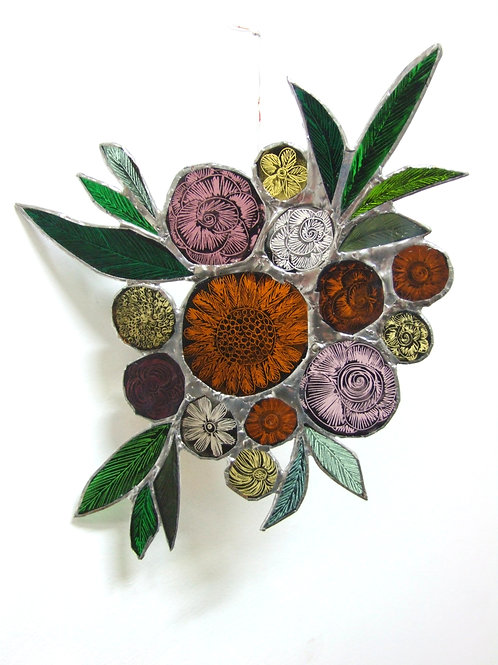 Copper foiled stained Glass 'Bouquet #1' by Amy McCarthy