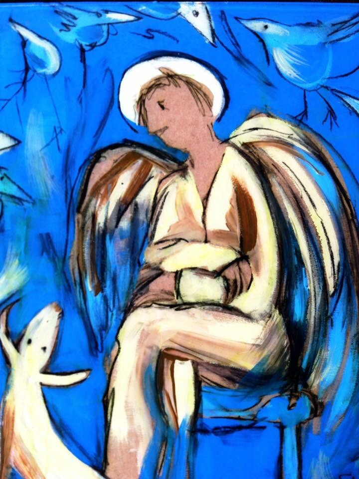 Anna Fitzgerald angel and dog painting
