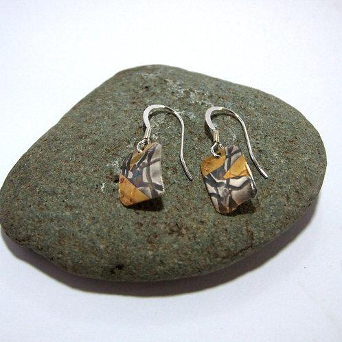 Keum Boo - fine Silver Drop Earrings by Sue Jones (SJ970)
