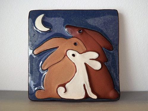 Ann-Mari Hopkin, 'Hare Family' Ceramic Tile - 10 x 10cm