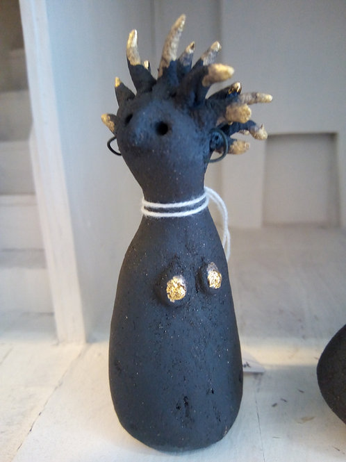 Small 9.5cm Ceramic Lady with golden hair by Tina Hill Art