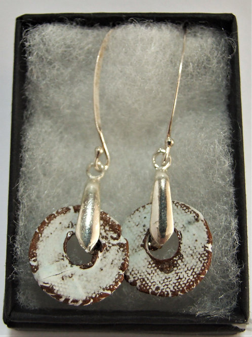 Ceramic and silver drop earrings by Tina Hill Art