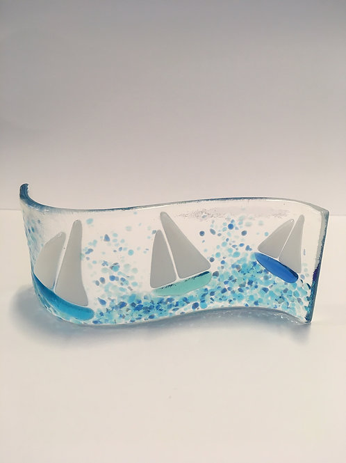 Fused and slumped glass Yachts by CraftEx of Exeter
