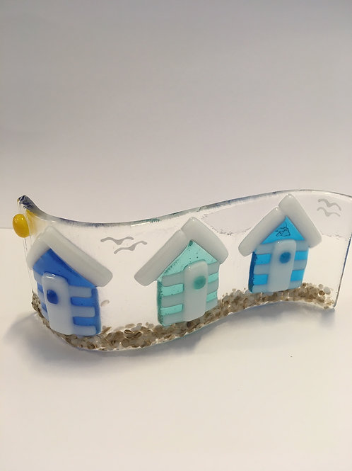 Fused and slumped glass Beach Huts by CraftEx of Exeter