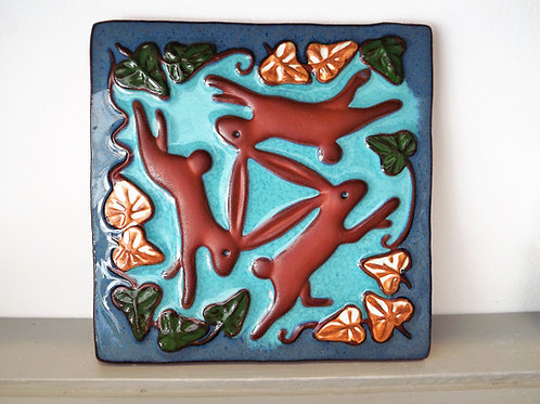 Ann-Mari Hopkin, 'Brown 3 Hares' Ceramic Tile