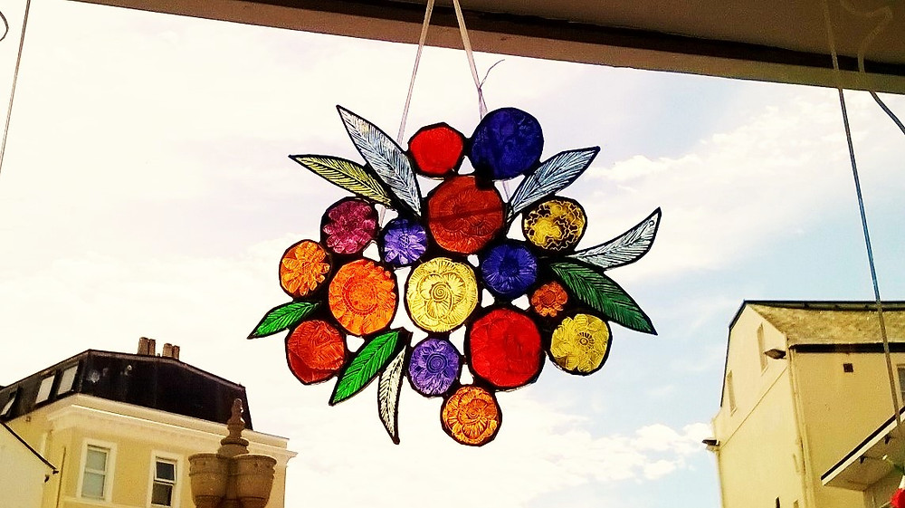 We have some really exquisite glass hanging pieces by Teignmouth artist Amy McCarthy in the gallery at the moment.