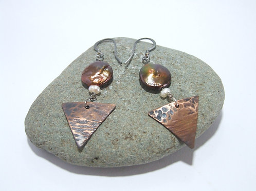 Copper, pearl and silver wire drop earrings by Sue Jones