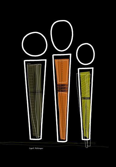 ציור שלוש דמויות אבסטרקט